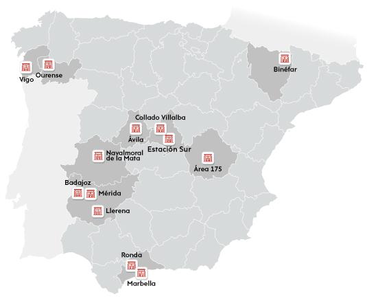 Mapa de localización de nuestras estaciones en España (Ávila, Badajoz, Binéfar, Collado Villalba, Estación Sur, Llerena, Marbella, Mérida, Navalmoral de la Mata, Ourense, Ronda y Vigo) y del área de descanso Área 175.